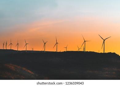 Wind turbines on top mountain.