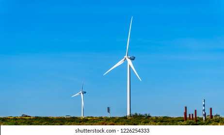 Wind Turbines at the Oosterschelde inlet at the Neeltje Jans island in Zeeand Province in the Netherlands