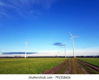 Wind turbines in the open field