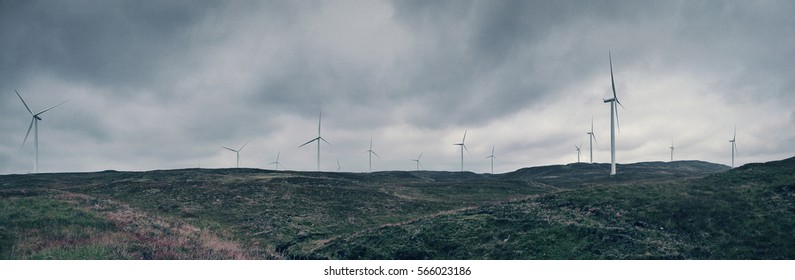 Wind Turbines - panoramic view of a wind farm in the Scottish wilderness.