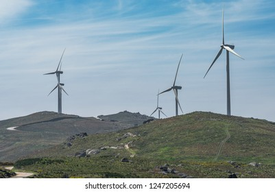 Wind turbines in Portuguese countryside