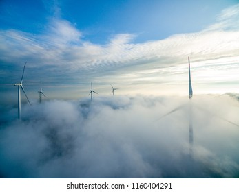 Wind turbines and wind power in the Yunhai Mountains of Jiangxi Province,