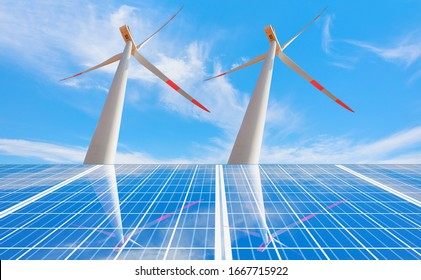 Wind turbines reflection to solar panels with bright cloudy sky
