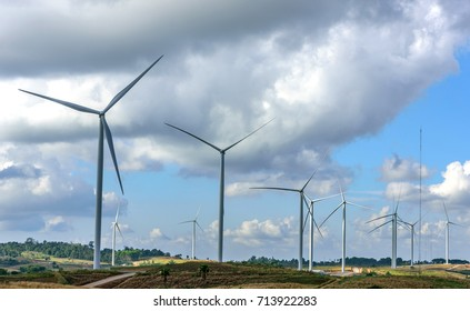 Wind turbines for renewable electric energy source, Phetchabun Province, Thailand.