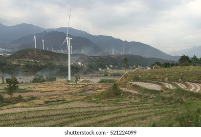 Wind turbines, renewable energy option, wind farm in Chengdu, China