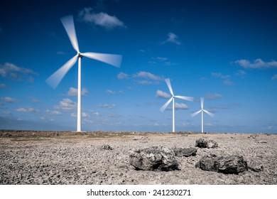 Wind turbines in rocky desert