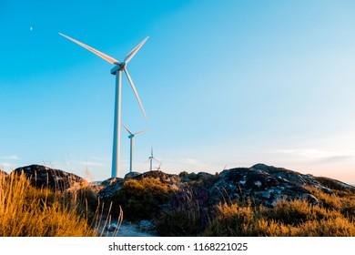 Wind Turbines in a Rocky Landscape in Galicia Spain