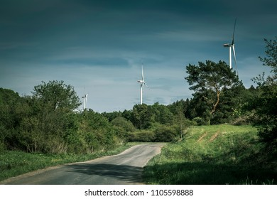 Wind turbines in a rural area.  in Germany.
