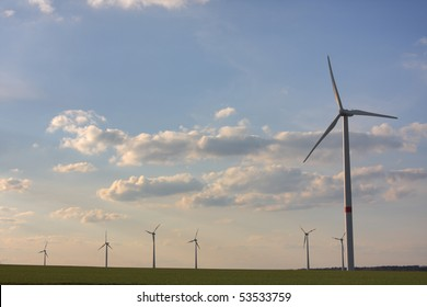 wind turbines in rural german landscape