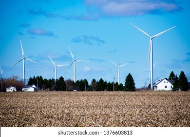 Wind Turbines In Rural Michigan Farmland Thumb Area Alternative Energy