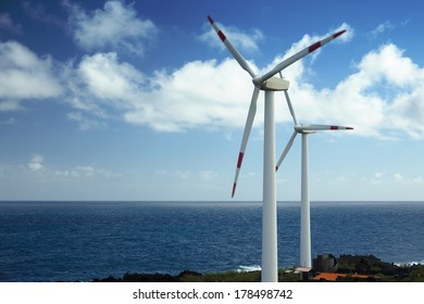 Wind turbines at the sea