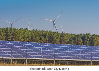 Wind turbines and solar panel park