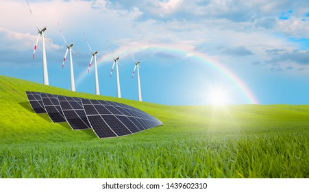 Wind turbines and solar panels - Clean energy concept