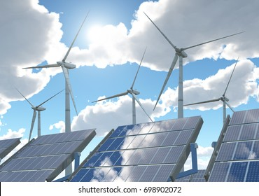 Wind turbines and solar panels Computer generated 3D illustration