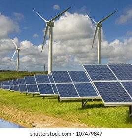Wind turbines and solar panels. These are in Cornwall in the UK.