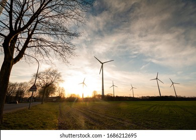 Wind turbines in the sunset, in the Bioenergy park Saerbeck Germany