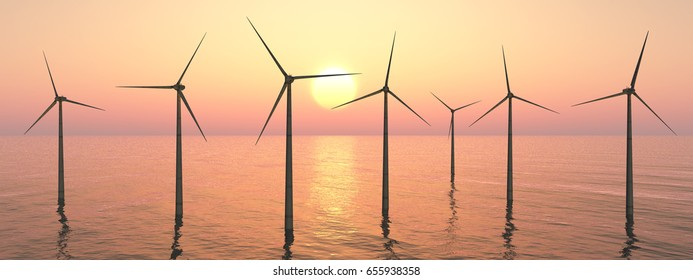 Wind turbines at sunset Computer generated 3D illustration