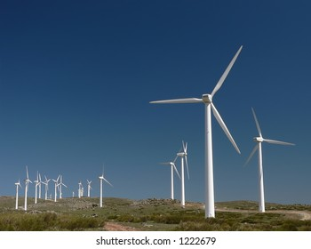 Wind Turbines under Beautiful Blue Sky in Spain