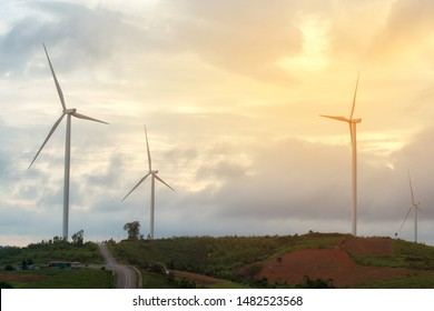 Wind turbines used to produce electricity for use in pharm and agricultural