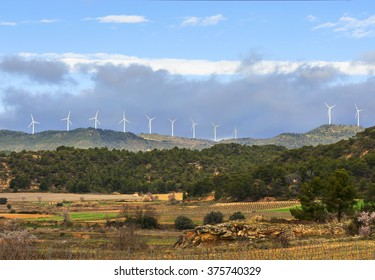 Wind turbines in Valencia province