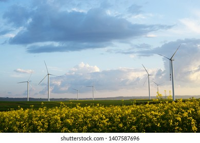 Wind turbines, windmill - power plant on sunnyday near colza field with rural road