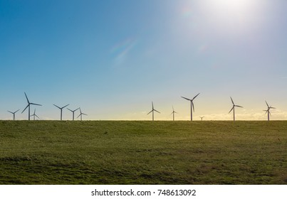 Wind turbines/generators on the coast of Fehmarn, an Island in the Baltic Sea