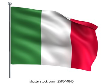 Wind Wave Italy Flag in High Quality Isolated on White with Flagpole