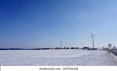 wind wheel between Steinenkirch, Gussenstadt and Böhmenkirch, south Germany in winter