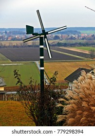 Wind Wheel  with the hungaria low lands in the backround. Picture taken in South Burgenland, Austria at the Hungarian Border.