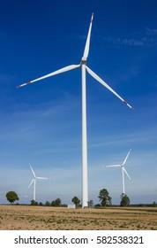 wind wheel on blue sky background, Wind Turbine texture.