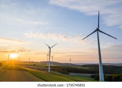wind wheels evening sun landscape