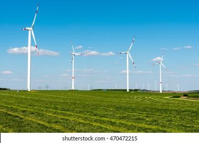 Wind wheels in the fields seen in rural Germany