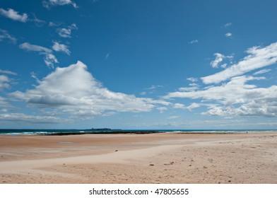 Windblown beach and sky - Bamburgh and Inner Farne