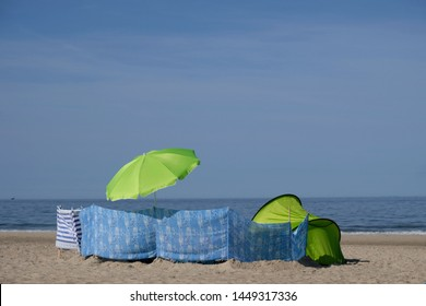 Windbreaks on the beach - on polish beaches of Baltic Sea you can see them very often.
