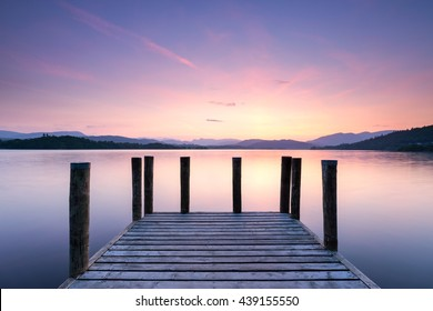 Windermere tranquility, UK Lake District at pier air sunset