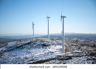 Windfarm in the galician mountains. Serra do Cando, Galicia, Spain