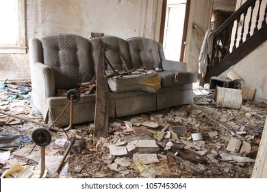 WINDHAM CT, USA MARCH 15th 2018: After a bank foreclose, the entire contents of a home are left behind