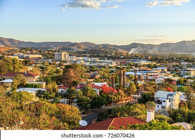 Windhoek downtown view with mountains in the background, Windhoek, Namibia