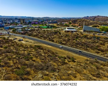 Windhoek drone view of hills and savanna in Namibia