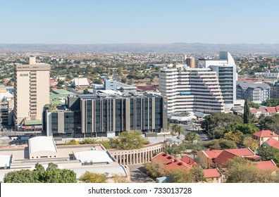 WINDHOEK, NAMIBIA - JUNE 17, 2017: An aerial view of part of the central business district in Windhoek, the capital city of Namibia