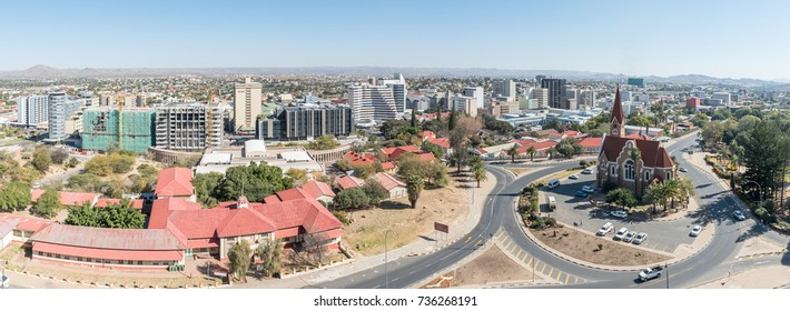 WINDHOEK, NAMIBIA - JUNE 17, 2017: An aerial panorama of the Christuskirche and part of the central business district of Windhoek, the capital city of Namibia