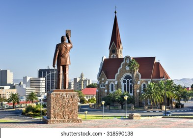 Windhoek, Namibia - May 25, 2015: Christuskirche (Christ Church), famous Lutheran church landmark in Windhoek, Namibia