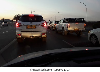Windhoek, Namibia - September 13 2019: Dusk road in a suburb of Windhoek in Namibia. South Africa