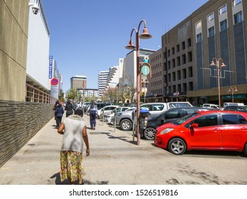 Windhoek, Namibia - September 2 2019: Buildings, streets and architecture of Windhoek, the capital and largest city of the Republic of Namibia. South Africa