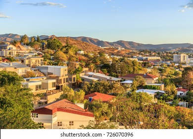 Windhoek rich resedential area quarters on the hills with CBD and mountains in the background, Windhoek, Namibia
