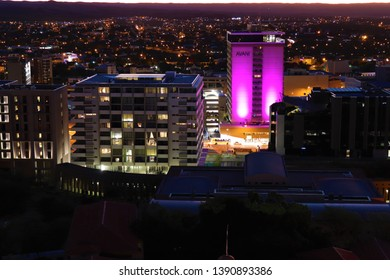 Windhoek,Namibia.April 2019. Avani hotel and casino located in the center of Namibia's capital city.City skyline at night.