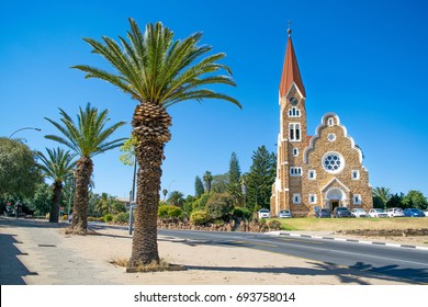 Windhoek's Famous Christ Church and Palm Tree Walkway - Windhoek, Namibia