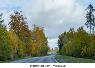 Winding asphalt road in the forest in cloudy weather. Countryside in Europe, in Latvia.