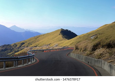 The winding asphalt road on the Mount Hehuan (Hehuanshan) that is on the borders of Nantou and Hualien counties within Taroko National Park and is a 3416-metre-high mountain in Central Taiwan.