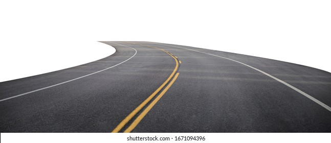 Winding asphalt road with yellow symbol. Isolated on background